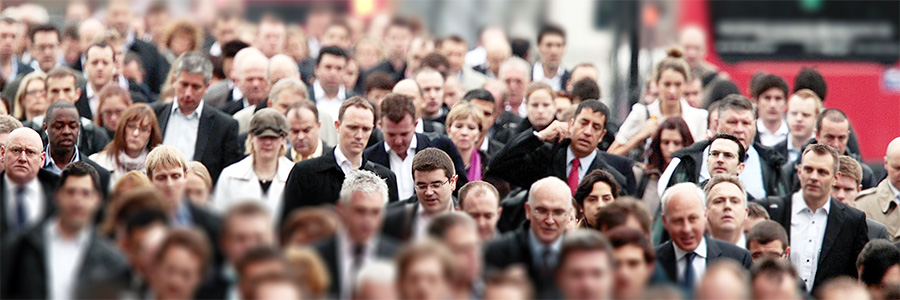 Crowd of workers on street. Consulting Services.  www.graybridgemalkam.com